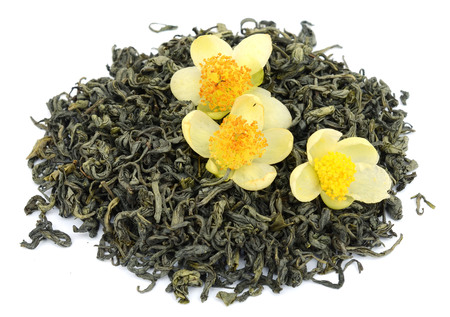 Oolong tea dahongpao isolated on white background