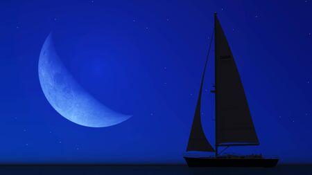 sailboat and the moon