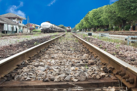 Line of railway crossing in rural of Thailand