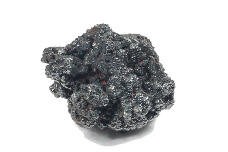 photo of Hematite mineral (sacred mineral) isolated over white