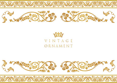 Illustration for vintage ornament set. borders and frames. - Royalty Free Image