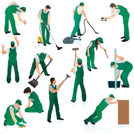 Illustration pour Set o thirteent professional cleaners in green uniform - image libre de droit