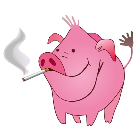 Funny pig with a smoking cigarette in its mouse