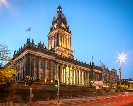 Leeds Town Hall in the city centre of Leeds England representing a Gothich style architecture