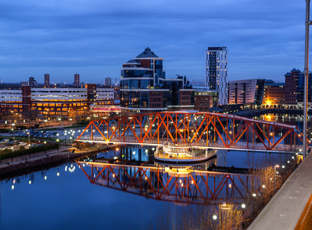 Salford Quays skyline in the Greater Manchester, England