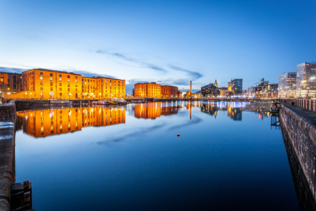 Liverpool waterfront skyline with its famous buildings like Pierhead, albert dock, salt house, ferry terminal etc.