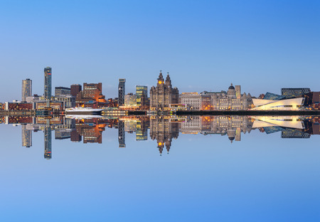 A perfect reflection of liverpool city skyline. All the famous landmarks of liverpool on the horizon.