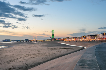 View of Blackpool tower, beach and the central pier from south shore.