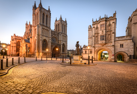 Foto de Bristol cathedral and central library are two of the famous building in Bristol, UK. - Imagen libre de derechos