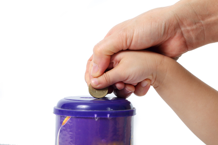 Photo pour parent tech children for saving money isolated on white background. - image libre de droit