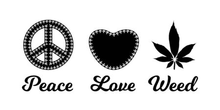 Peace Love Weed Sign With Marijuana Leaves Vector Illustration Royalty Free Vector Graphics