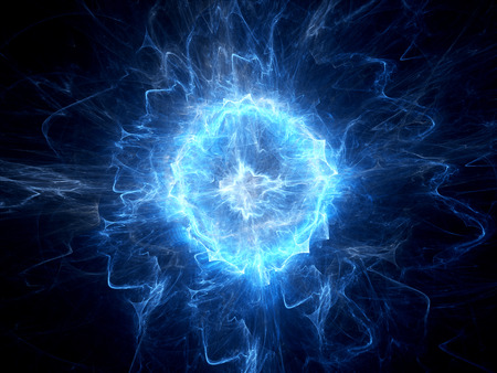 Blue glowing ball lightning computer generated abstract background