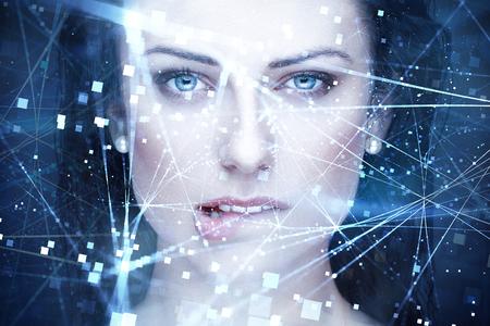 Photo pour Sexy woman artificial intelligence with connections bite lips portrait - image libre de droit