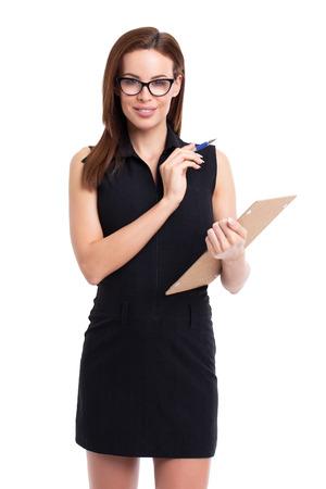 Photo pour 20s businesswoman holding checklist, isolated on white - image libre de droit