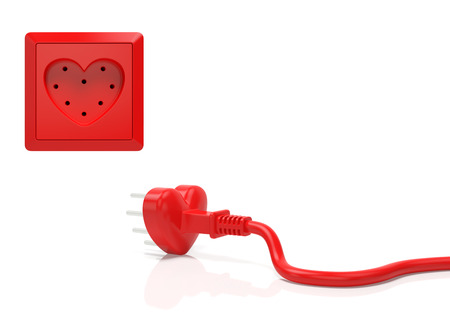 Heart love passion creative concept. Electric plug and power socket in the form of red heart as symbol of Valentine day, infatuation, wedding, romantic date, love in every home or time for love