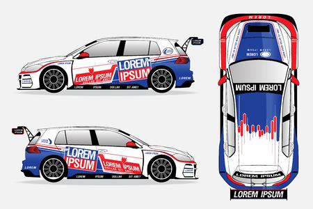 Ilustración de white sport car vector template on white background. - Imagen libre de derechos