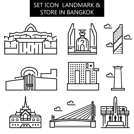 set icon landmark & store in Bangkok. vector illustration