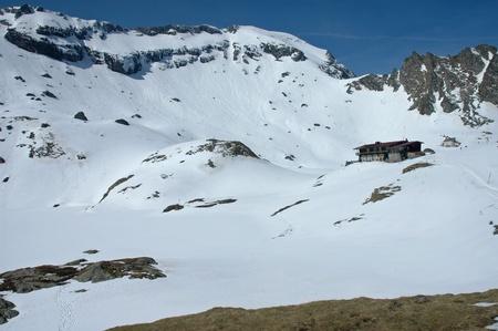 Snow covered landscape in the Fagaras mountains, Romania