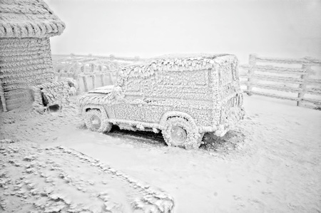 Frozen car at winter