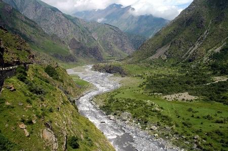 Georgian Military Highway, Caucasus mountains, border between Georgia and Russia
