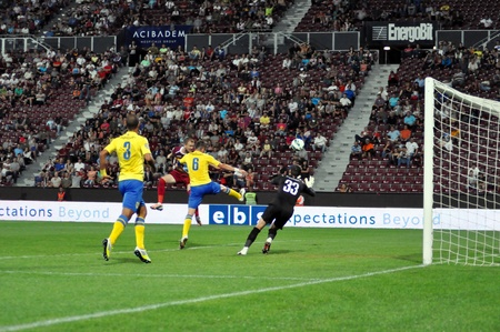 CLUJ-NAPOCA, ROMANIA - SEPTEMBER 2  Khamutovski Vasili in action at a Romanian National Championship soccer game CFR Cluj vs  Pterolul Ploiesti, , final score 2-2, on Sept  2, 2012 in Cluj, Romania