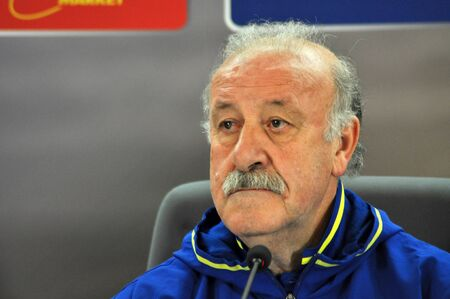 CLUJ-NAPOCA, ROMANIA - MARCH 26, 2016: The coach of Spanish National team, Vicente del Bosque speaks during a press conference before the Romania-Spain friendly match