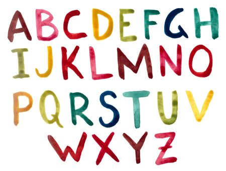 Watercolor english alphabet with colored letters.