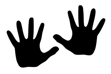 Illustration pour Black silhouette model palm people. - image libre de droit