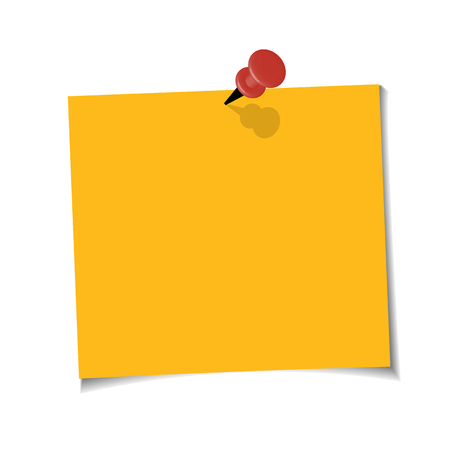 Illustration pour Office Yellow paper note with sticky tape on white background. Template for your projects. - image libre de droit