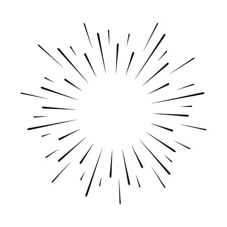 Abstract festive firework shape. Burst light rays. Exploding graphic element. Isolated on white background. Vector illustration