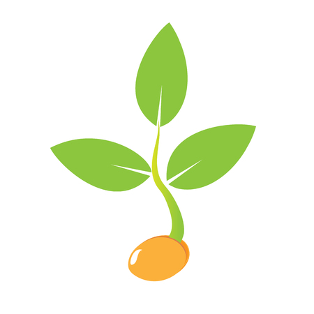 Illustration pour Planting seed sprout in ground. Symbol grow sapling. Icon, flat isolated on white background. Vector - image libre de droit
