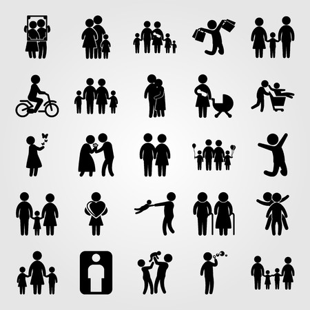 Illustration pour Humans icon set vector. People hugging, boy, children and girl. - image libre de droit