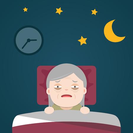 Illustration pour Insomnia, sleeplessness, old woman, grandma - image libre de droit