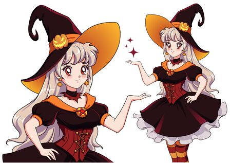 Ilustración de Pretty young vampire witch. Announce Halloween Party. Hand drawn retro anime girl with white hair and red eyes. Vector illustration for children games, invitation cards, design template etc. - Imagen libre de derechos