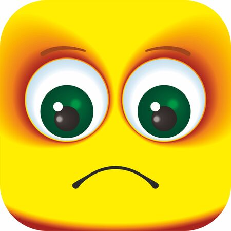 Illustration for Sad face Cartoon Square Emoticon. Cartoon faces for your design. - Royalty Free Image