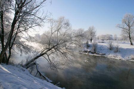 winter landscape misty morning on the river Zai