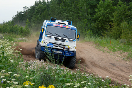 Naberezhnye Chelny, Russia - July 8, 2015: Kamaz-Master, tests new trucks at the site on the outskirts of the city in summer