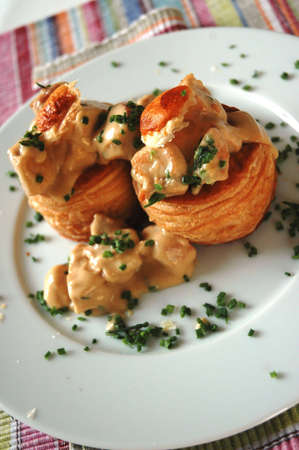 Vol au vent stuffed with chicken and creamy sauce