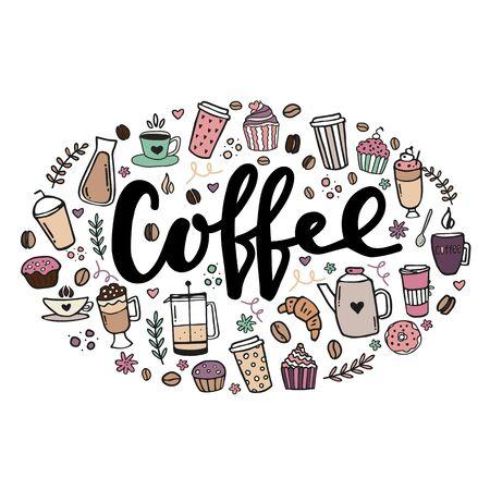 Illustration pour Hand drawn poster about coffee. Hand written lettering design illustration - image libre de droit
