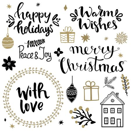 Illustration pour Set of christmas design elements and hand written lettering about christmas and winter holidays. Peace and joy, happy holidays,warm wishes, merry christmas, with love hand written lettering phrases - image libre de droit