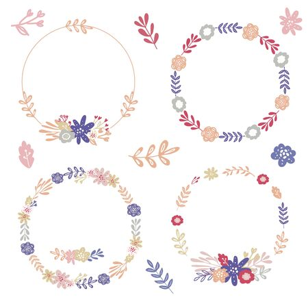 Illustration pour Set of simple floral wreaths and bouquets for wedding decor,invitation,greeting card design - image libre de droit