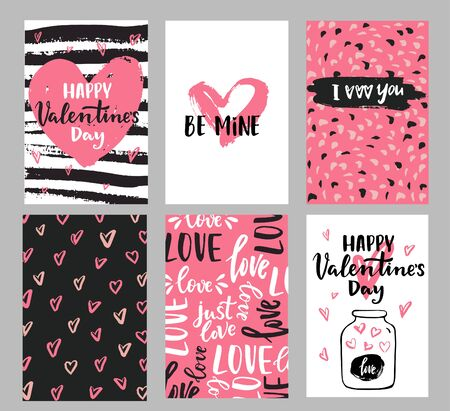 Illustration pour Set of Valentine's day greeting cards with hand written greeting lettering and decorative textured brush strokes on background. Happy Valentine's day, Love you words, love in a jar concept - image libre de droit