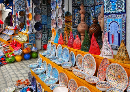 Colorful Tunisian pottery in front of the souvenir store in Nabeul, Tunisia