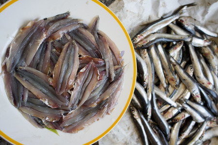 fresh anchovies fillets just cleared from the fishbones