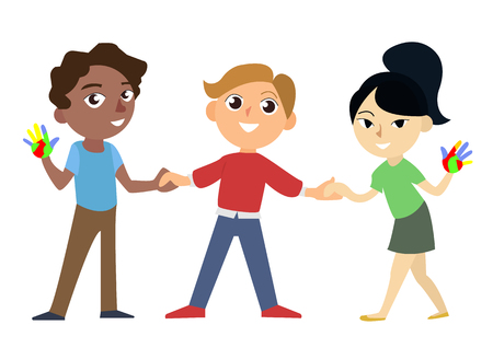 Ilustración de International happy and smiling african european and asian childrens holding hands. Universal children s day vector illustration. Three characters isolated on the white background. - Imagen libre de derechos