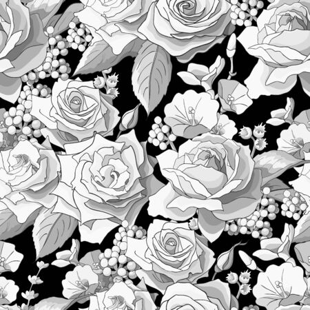 Ilustración de Seamless pattern with roses. White flowers, leaves on black background. Abstract monochrome pattern - Imagen libre de derechos