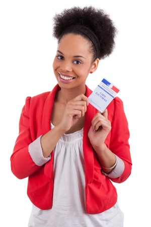 Young woman holding an french electoral card,isolated on white background