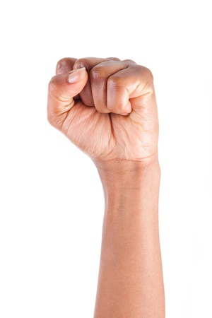 African American woman Hand with clenched fist,isolated on white background