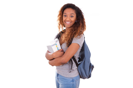 African American student girl holding books
