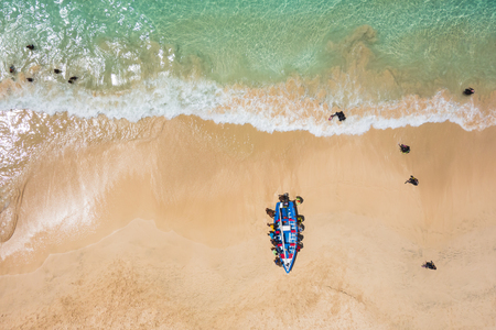Aerial of a traditional fisher boat in Santa Maria  in Sal Island in Cape Verde - Cabo Verde